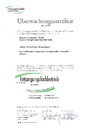 "Certified by the waste disposal association Entsorgergemeinschaft Niedersachsen e.V.  in the field of ""waste treatment"""