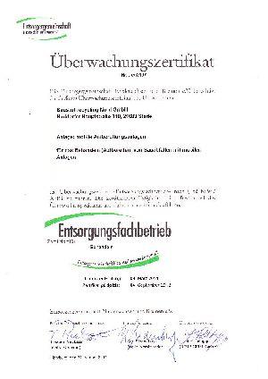 """La communauté des entreprises de traitement des déchets de Basse-Saxe(association déclarée) nous a certifiés pour l'activité """"traitement""""."""